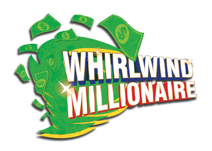 The whirlwind millionaire logo, a toranado made out of green dollar bills with the big bold text